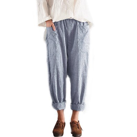 Women Cotton Linen Elastic Waist Loose Pant Pocket Trousers Casual Harem Striped ()
