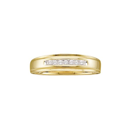 14k White Goldmans Ring - 14kt Yellow Gold Mens Round Diamond Channel-set Wedding Anniversary Band Ring 1/12 Cttw