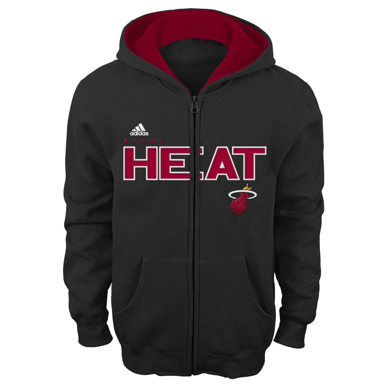 "Miami Heat Youth NBA Adidas ""Stated"" Full Zip Hooded Sweatshirt"