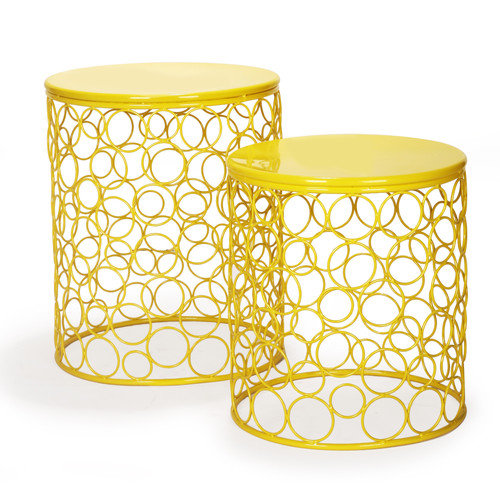 Adeco Trading 2 Pieces Home Garden Accent Wire Round Stool (Set of 2)