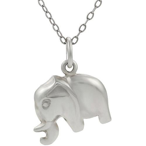 "Brinley Co. Sterling Silver Elephant Pendant, 18"""