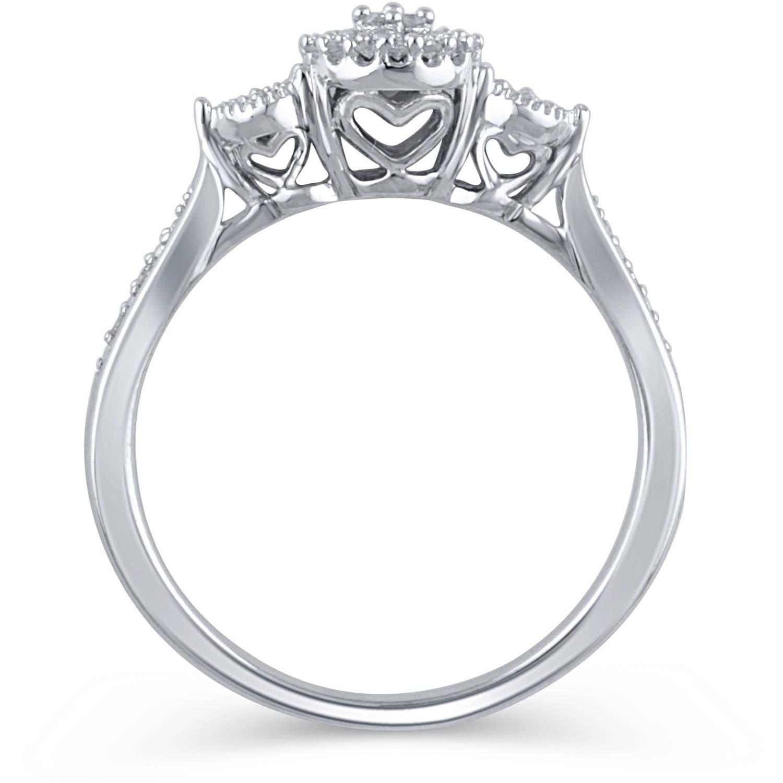 1 10 Carat T W Diamond Sterling Silver Promise Ring Walmart