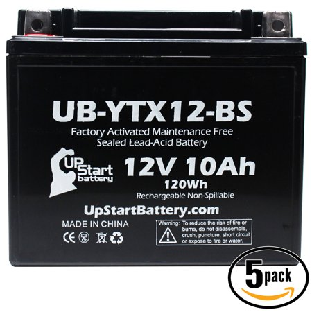 5-Pack UpStart Battery Replacement 2008 Suzuki GSX1300R, Z Hayabusa 1300 CC Factory Activated, Maintenance Free, Motorcycle Battery - 12V, 10Ah, UB-YTX12-BS