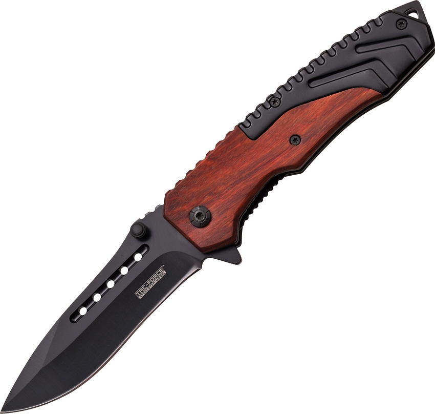 "Tac Force TF867BW Folding Knife A/O Black 3.5"" Blade Red Wood/Blk SW Handle"