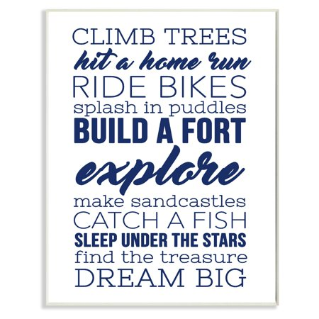 The Stupell Home Decor Collection Climb Trees Dream Big Navy with White Wall Plaque - Navy Peace Sign