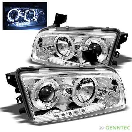 For 2006-2010 Dodge Charger Twin Halo LED Projector Headlights Head Lights  Pair Left+Right/2007 2008 2009