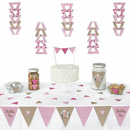 Little Cowgirl - Western Triangle Party Decoration Kit - 72 Pieces
