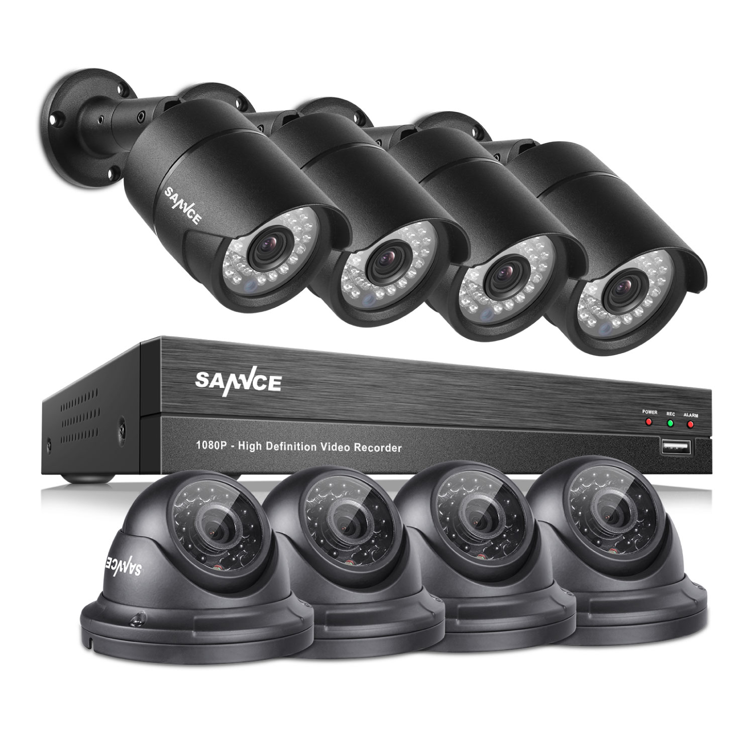 SANNCE 8 Channel 1080P AHD CCTV DVR Recorder with 8x 1920*1080p In/Outdoor Day Night IR-CUT Surveillance Video Security Camera System With NO Hard Drive Disk