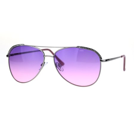 Thirty Two Womens Lashed - Rhinestone Lash Trim Iced Out Bling Womens Officer Style Metal Sunglasses Silver Purple Pink