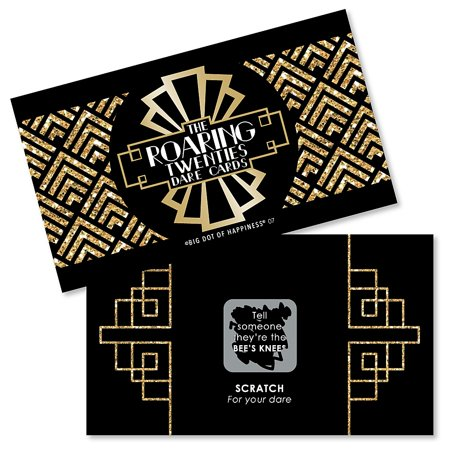 Roaring 20's - 1920s Art Deco Jazz Party Game Scratch Off Dare Cards - 22 (Roaring 20's Centerpiece Ideas)