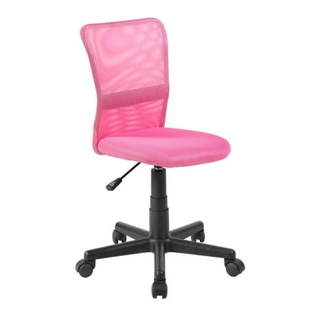 - Mid-Back Mesh Adjustable Kids Desk Chair in Pink