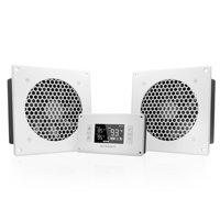 """AC Infinity AIRPLATE T8 White, Quiet Cooling Dual-Fan System 6"""" with Thermostat Control, for Home Theater AV Cabinets"""