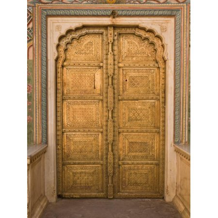 Close Up of the Ornate Door at the Peacock Gate in the City Palace, Jaipur, Rajasthan Print Wall Art By John Woodworth