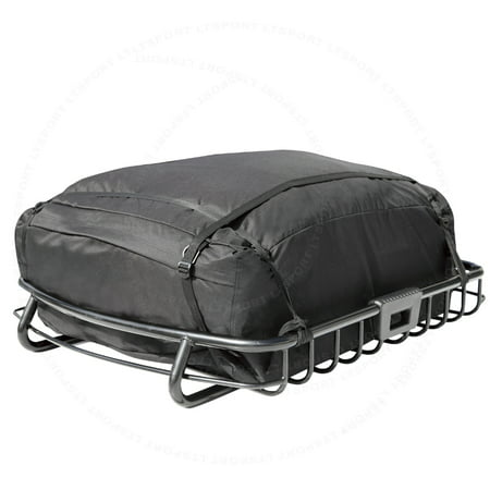 HEAVY DUTY TOP ROOF CARGO BASKET + TRAVEL STORAGE BAG LUGGAGE RACK CARRIER SET