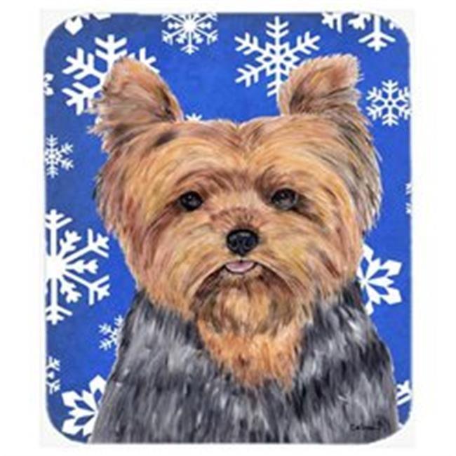 Carolines Treasures SC9388MP Yorkie Winter Snowflakes Holiday Mouse Pad, Hot Pad Or Trivet - image 1 of 1