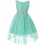 Girl Dress - Rhinestone Belt High Low Lace Pageant Graduation Flower Girl Dress Mint size 4 (Size 4-18)