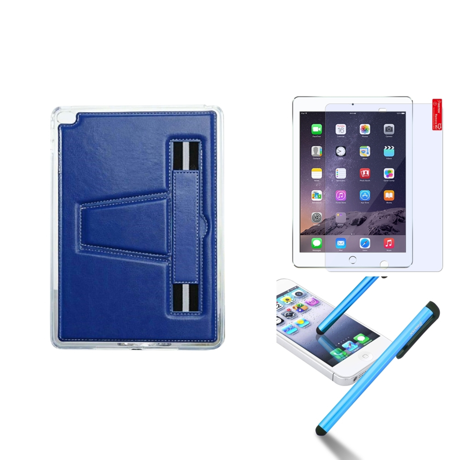 Insten For iPad Air 2 TPU Gel Rubber Soft Skin Case Cover w/ Stand+Protector+Pen Dark Blue