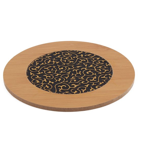 Unique Bargains Home Kitchen Bamboo Round Table Protector