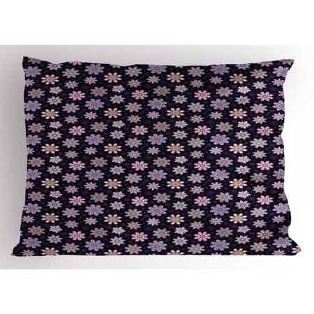 Flower Pillow Sham Sixties Inspired Floral Arrangement with Blowball and Dots Background Retro Image, Decorative Standard Size Printed Pillowcase, 26 X 20 Inches, Multicolor, by Ambesonne (Sixties Flower Power)