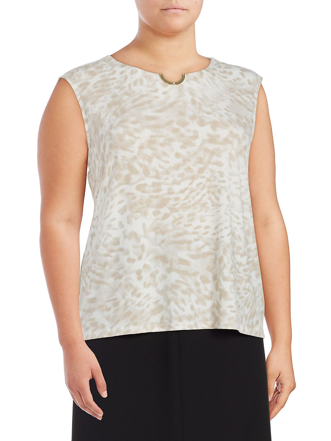 Plus Plus Sleeveless Animal-Print Top