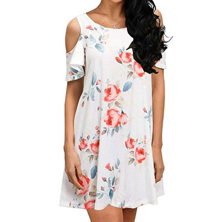 Fysho Women Summer New Off-shoulder Print Short-sleeved Dress Fashion Beautiful Casual Style Cotton Dress