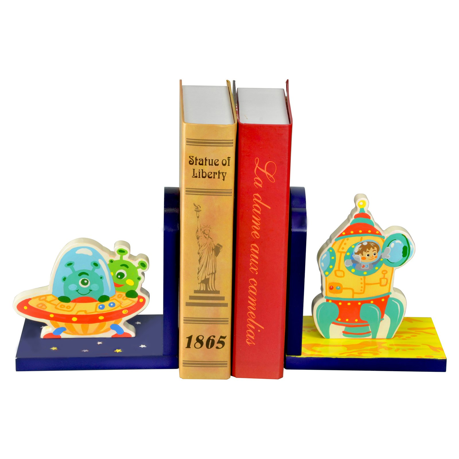 Fantasy Fields Outer Space Hand Crafted Kids Bookends - Set of 2