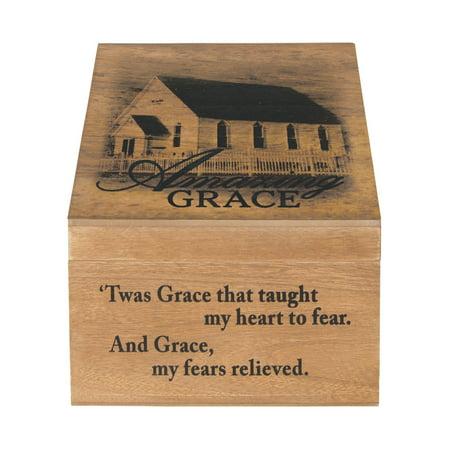 """12"""" Amazing Grace Wrapped Wood Keepsake Memory Box with Photo Holder"""