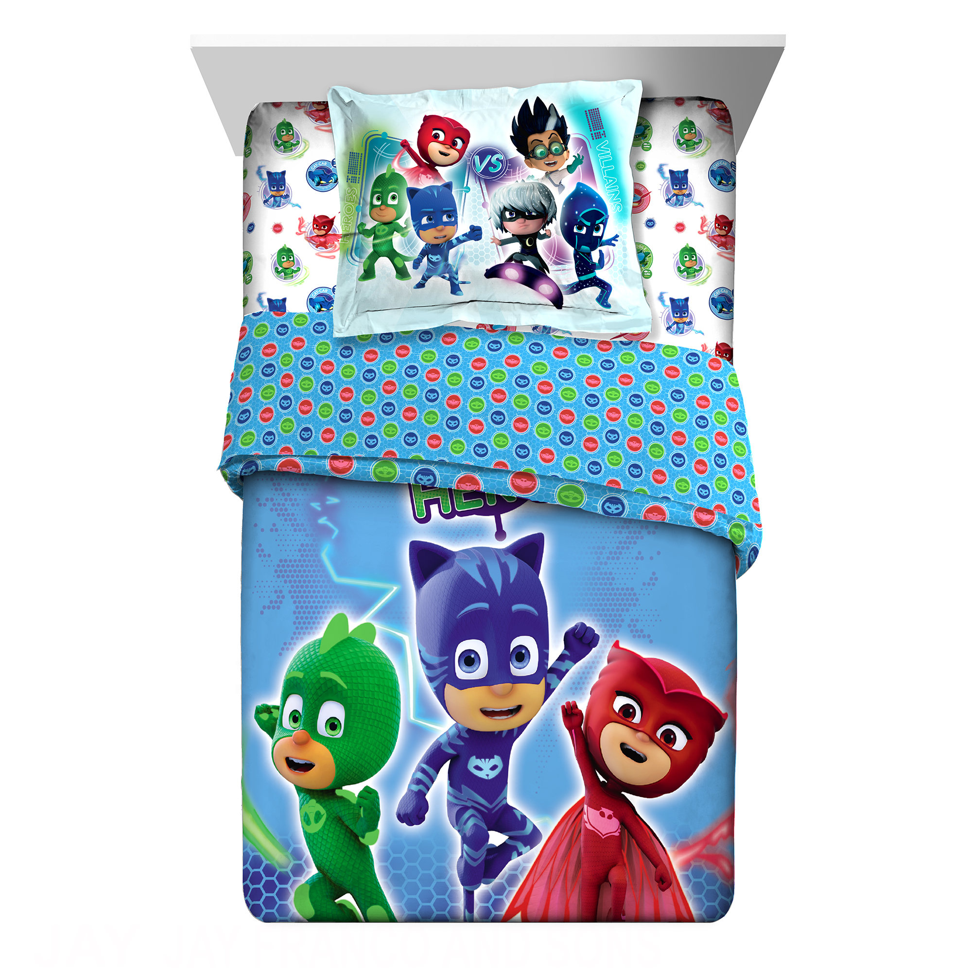 PJ Masks On Our Way Twin Full Comforter with Sham, 2 Piece