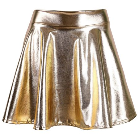 Women's Metallic Ballet Dance Flared Skater Skirt Fancy Dress, Golden