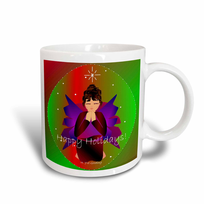 3dRose Christmas Angel Baby Girl Praying With Happy Holidays Angel Text , Ceramic Mug, 15-ounce