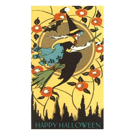 Happy Halloween, Witch on Broom Print Wall Art