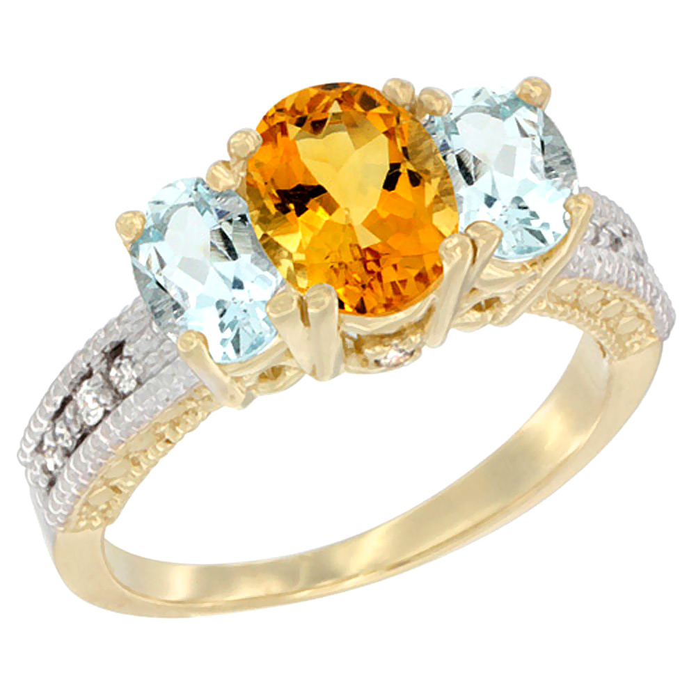 10K Yellow Gold Diamond Natural Citrine Ring Oval 3-stone with Aquamarine, sizes 5 10 by WorldJewels