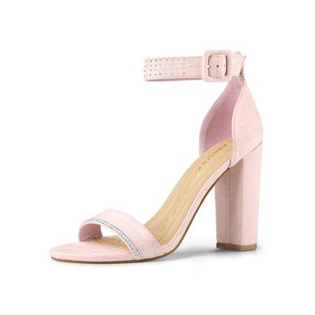Women's Rhinestone Block High Heel Ankle Strap Sandals Pink (Size - Pink Sandals