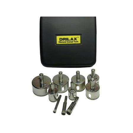 3/8 Inch Through Hole - Drilax Diamond Drill Bit Set of 10 Pieces Sizes 1/4 inch  - 3/8 inch  - 1/2 inch  - 3/4 inch  - 1 inch  - 1 1/4 inch  - 1 3/8 inch  - 1 1/2 inch  - 1 3/4 inch  - 2 inch  Hole Saws in PU Case