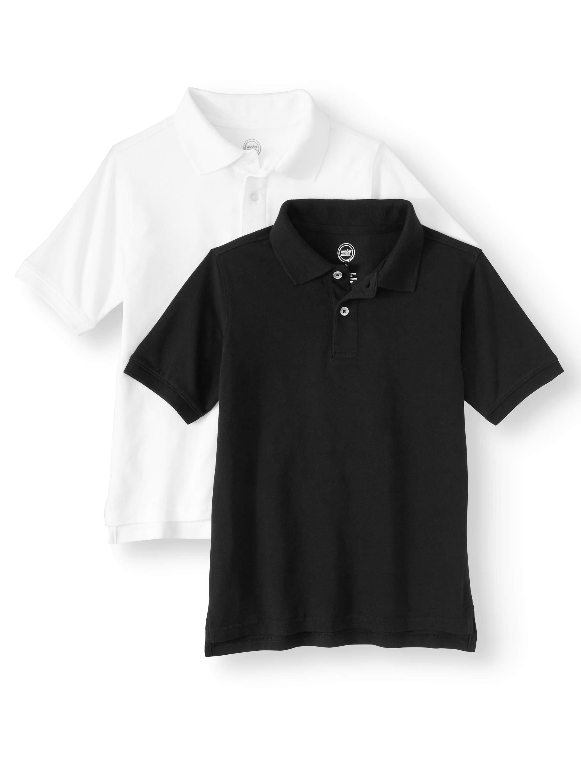 Wonder Nation Short Sleeve Pique Polo, 2-Pack (Little Boys & Big Boys)