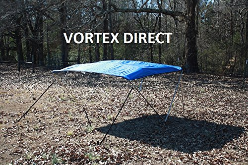 """New ROYAL BLUE STAINLESS STEEL FRAME VORTEX 4 BOW PONTOON DECK BOAT BIMINI TOP 10' LONG, 97-103"""" WIDE (FAST... by VORTEX DIRECT"""