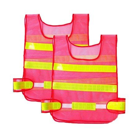 2PCS Safety Security Day/night Mesh Biking Running Jogging Vest, Visibility Reflective Reflector Vest Gear,orange](Night Running Gear)