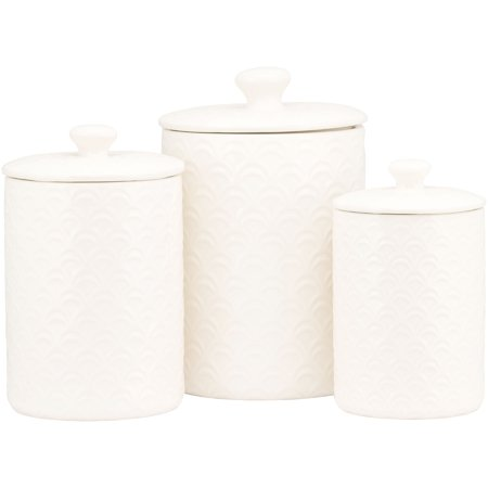 White Kitchen Canisters - 10 Strawberry Street Ocean 3 Piece Canister Set, White