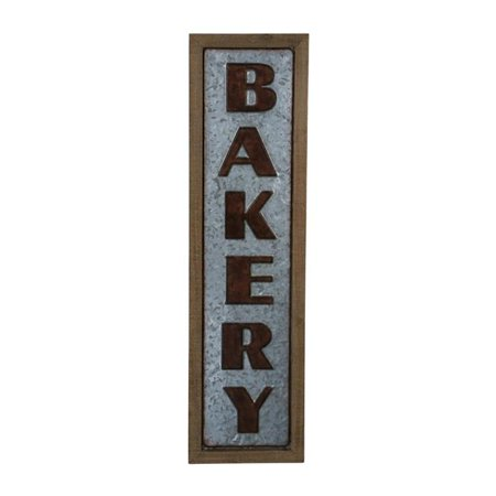 Cheungs 4867 Vertical Wood Frame Galvanized Wall Sign - Bakery
