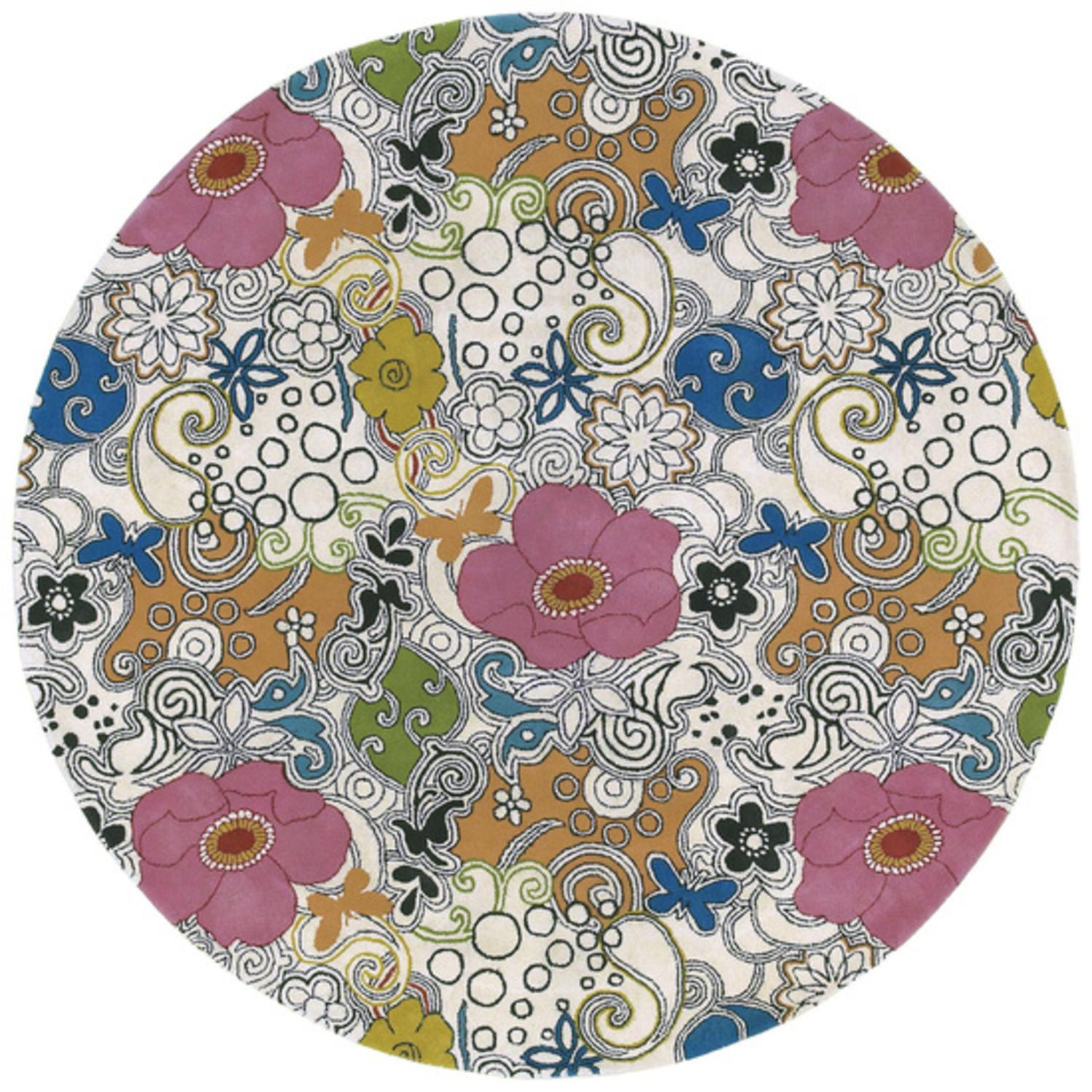 5.75' Hippie-Do-Dad Rose Floral Red and Retro Sienna Round Wool Area Rug