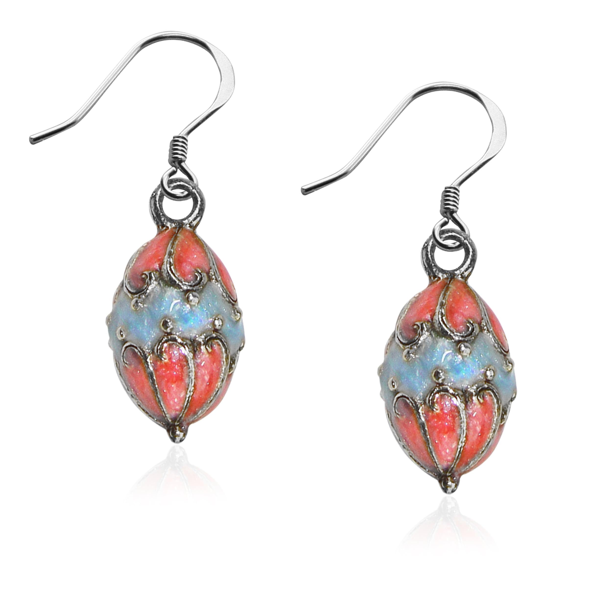 Easter Egg Charm Earrings in Silver