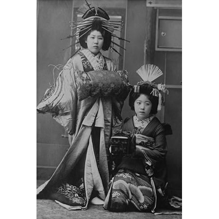 Two Young Beautiful Japanese Geishas accoutered in the ceremonial costumes and hairstyles of ancient Japan with Kimono Combs and Obi Poster Print by unknown - Costume Geisha