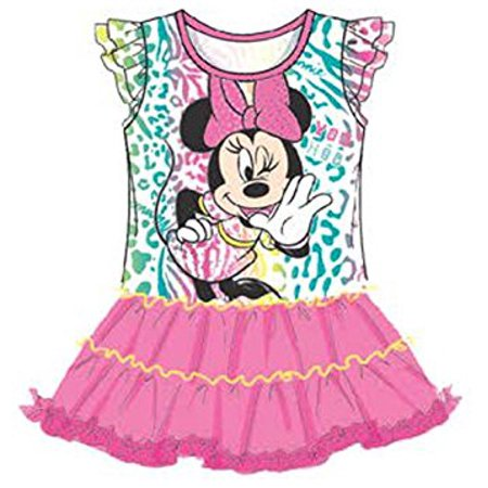 [P] Disney Youth Girls' Minnie Mouse Baby Girls Ruffled Sleeve & Mesh Flounce Dress SZ6 (Minnie Mouse Fancy Dress For Adults)