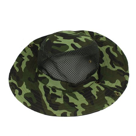 Unique Bargains Fishing Hiking Mesh Design Camouflage Pattern Sun Hat Fish Cap Army Green (Hat Fish)