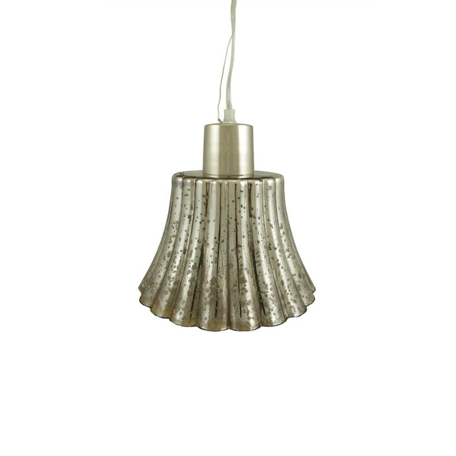 "9"" Metallic Mercury Glass Bell Hanging Pendant Ceiling Lamp by CC Home Furnishings"