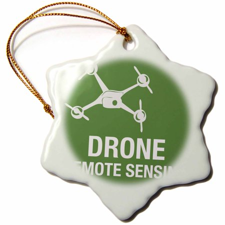 3dRose Big Green Drone flying with Remote Sensing, Snowflake Ornament, Porcelain, 3-inch