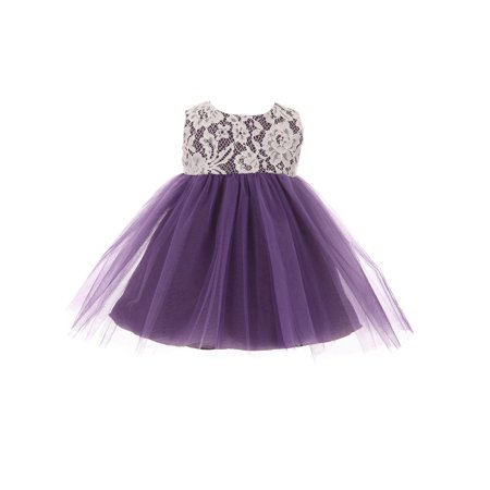 kids dream baby girls purple lace illusion tulle flower girl dress - Lace Childrens Dress