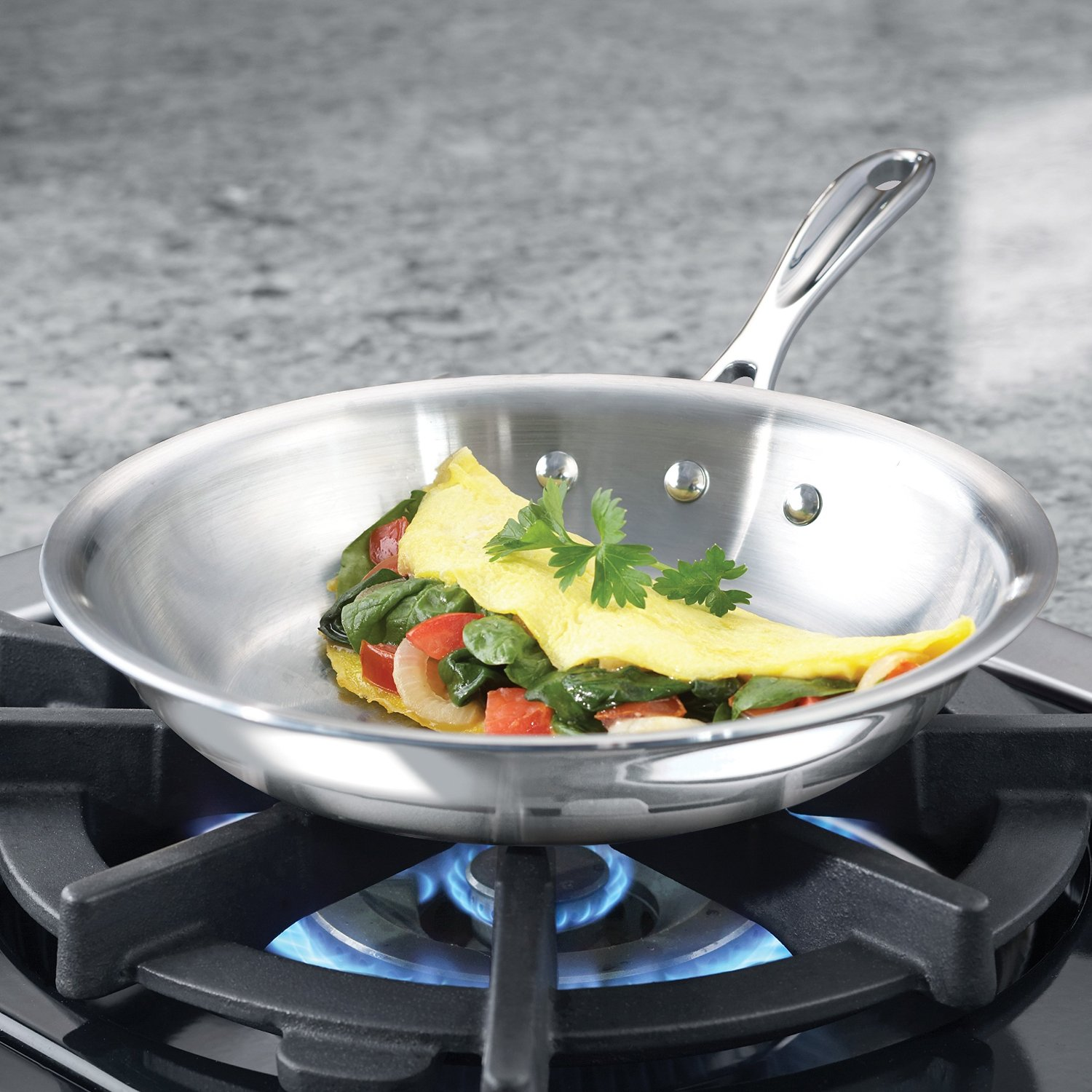 """NEW Calphalon Tri-Ply Stainless Steel 8/"""" Omelette Fry Pan"""