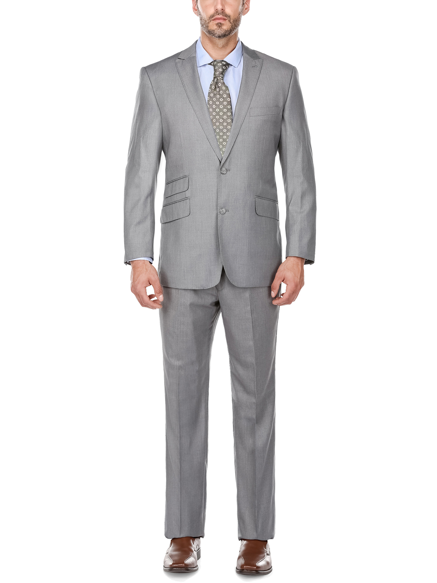 Men' s Charcoal Grey Peak Lapel Classic Fit Two Piece Suit