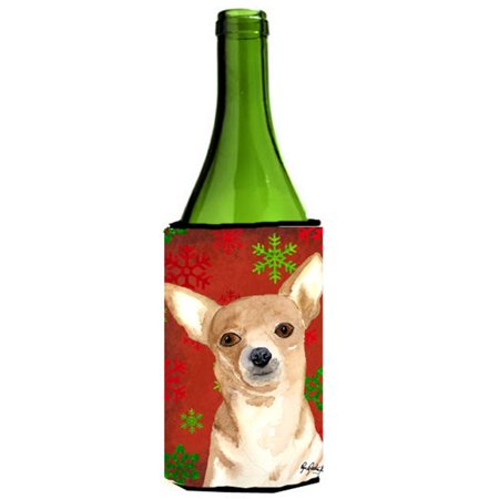 Red Snowflake Chihuahua Christmas Wine bottle sleeve Hugger 24 oz. - image 1 de 1